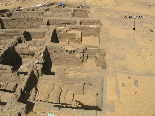 View of house E13.6 at end of last season, with E13.5 to right, awaiting excavation