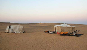 Our two site tents at Amara West, with guard Selim