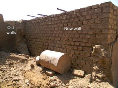 Mudbrick walls in a house on Ernetta island