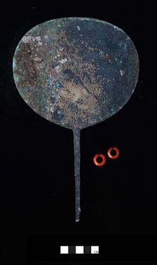 Copper alloy mirror (F8448) and carnelian rings (F8443-8448) found with the burial in G309