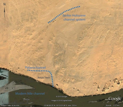 Google Earth image showing modern Nile, location of Amara West, palaeochannel to the north and earlier Holocene Nile.