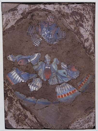 Fragment of painted plaster with a scene of hanging ducks from a royal building at Amarna