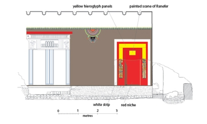 Reconstruction of painted wall decoration in the house of the official Ranefer at Amarna. Courtesy of the Amarna Project