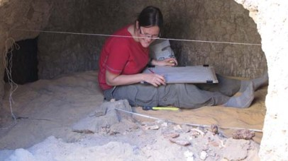 Barbara recording in chamber 1 of Grave 244