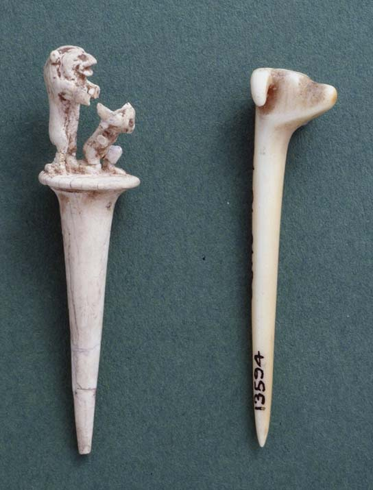 Ivory  gaming pieces from hounds and jackals game. British Museum EA 13594