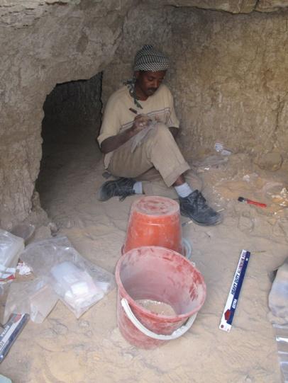 Mohamed excavating in chamber G244.1.