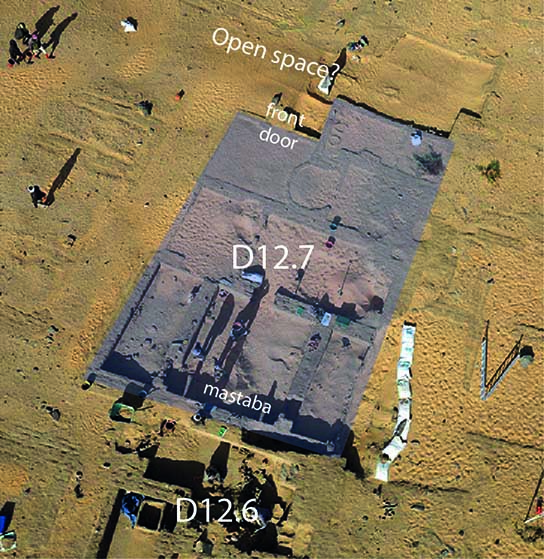 Kite photograph with House D12.7 under excavation. North to right.