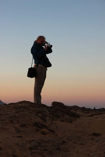 Phil recording Super 8 footage from the spoil heap at Amara West