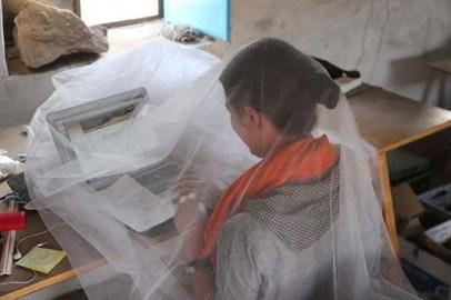Chiara Salvador registering finds (and avoiding nimiti-flies)