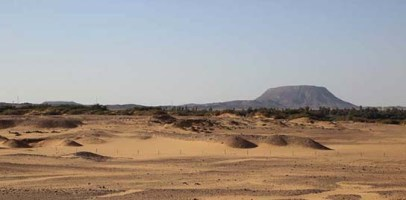View over Amara West and Abri mountain, 23 March 2014