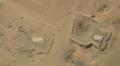 The pyramid tombs from above, with labels over the burial shafts, awaiting excavation.