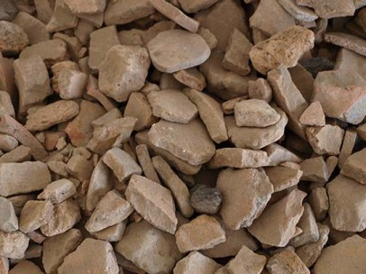 Piles of sherds, awaiting sorting