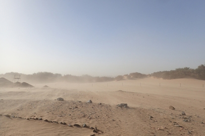 The wind howls across the lower part of Amara West town