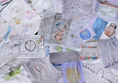 Drawings made by Amara East primary school pupils after the visit