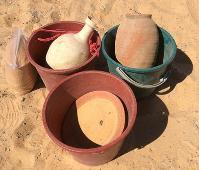 Ceramic vessels found in the first chamber